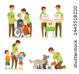 man and woman volonteer help... | Shutterstock .eps vector #1445518220