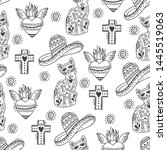 vector seamless pattern with... | Shutterstock .eps vector #1445519063