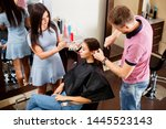 a young woman in a beauty salon ... | Shutterstock . vector #1445523143