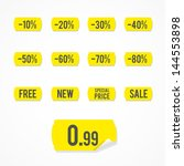 set  yellow sale labels | Shutterstock .eps vector #144553898