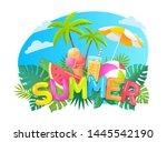 summer colour funny vector... | Shutterstock .eps vector #1445542190