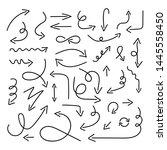 arrow set in sketch style.... | Shutterstock .eps vector #1445558450