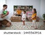 beautiful caucasian family... | Shutterstock . vector #1445563916
