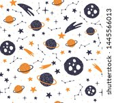 seamless pattern with cartoon...   Shutterstock .eps vector #1445566013