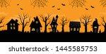 halloween houses. spooky... | Shutterstock .eps vector #1445585753