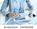 close up of young businesswoman ... | Shutterstock . vector #144566300