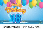 happy birthday 18 greeting card.... | Shutterstock .eps vector #1445669726