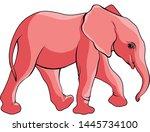 the pink elephant calf walks | Shutterstock .eps vector #1445734100