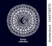 doodle mandala with moon in its ... | Shutterstock .eps vector #1445738570