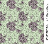 seamless pattern with tropical... | Shutterstock .eps vector #1445738573