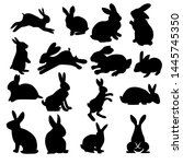 Stock vector rabbit vector silhouettes set isolated on white background with many style 1445745350