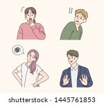 various emotional expressions... | Shutterstock .eps vector #1445761853