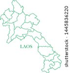 laos green line map vector | Shutterstock .eps vector #1445836220