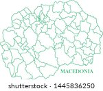 macedonia green line map vector | Shutterstock .eps vector #1445836250