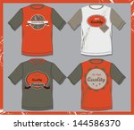 t shirts with premium quality... | Shutterstock .eps vector #144586370