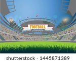 sports stadium with lights eps... | Shutterstock .eps vector #1445871389