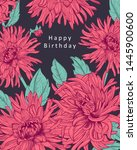 floral card with isolated hand... | Shutterstock .eps vector #1445900600