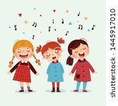 three little girl singing a... | Shutterstock .eps vector #1445917010