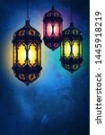 beautiful banner with lanterns. ... | Shutterstock . vector #1445918219