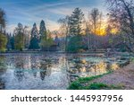 pond at vrana palace estate in... | Shutterstock . vector #1445937956