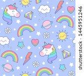 cute pastel unicorn  rainbow ...   Shutterstock .eps vector #1445951246