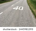forty speed limit sign on the... | Shutterstock . vector #1445981393