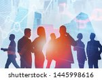 silhouettes of business people... | Shutterstock . vector #1445998616