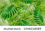 tropical palm leaves background....   Shutterstock .eps vector #1446018089
