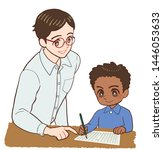 teacher and children and... | Shutterstock . vector #1446053633