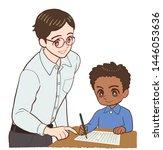 teacher and children and... | Shutterstock . vector #1446053636