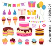 happy birthday elements with... | Shutterstock .eps vector #1446056309