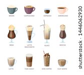set of different coffee types.... | Shutterstock . vector #1446062930