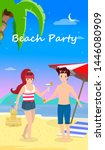happy family at beach party.... | Shutterstock .eps vector #1446080909