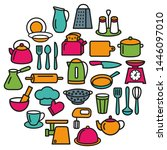 cooking set in circle template... | Shutterstock . vector #1446097010