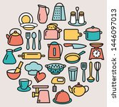 cooking set in circle template... | Shutterstock . vector #1446097013