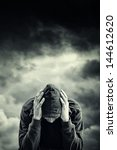man with problems. man in hood... | Shutterstock . vector #144612620
