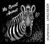 zebra illustration tee graphic... | Shutterstock .eps vector #1446158309