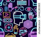 virtual reality neon seamless... | Shutterstock .eps vector #1446180383