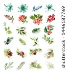 a set of christmas floral... | Shutterstock . vector #1446187769