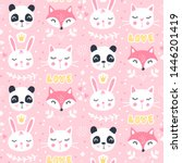 Stock vector cute seamless pattern with fox panda cat vector cartoon animals background ideal for fabric 1446201419
