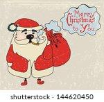 Retro card with Santa wishing Merry Christmas - stock photo