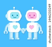 cute cartoon robots in love.... | Shutterstock .eps vector #1446233249