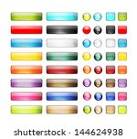 set of glossy button icons for... | Shutterstock .eps vector #144624938