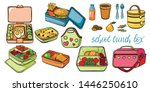 school lunch box set  container ... | Shutterstock .eps vector #1446250610