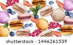 macaroons vector watercolor.... | Shutterstock .eps vector #1446261539