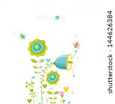 vector floral greeting card....   Shutterstock .eps vector #144626384