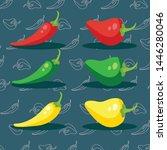bell pepper vegetables colorful ... | Shutterstock .eps vector #1446280046