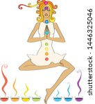 yoga and aromatherapy. young... | Shutterstock .eps vector #1446325046