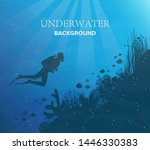 silhouette of coral reef with... | Shutterstock .eps vector #1446330383