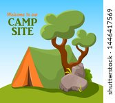 camp tent with green tree and... | Shutterstock .eps vector #1446417569